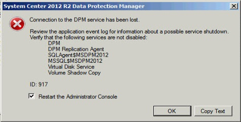 DPM restore error