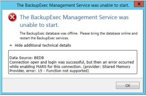 BackupExec Unable to start