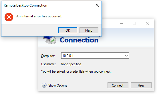 RDP Remote desktop error