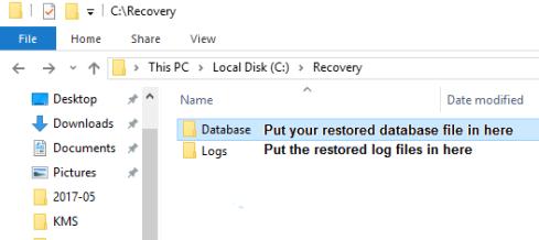 Mailbox restore files