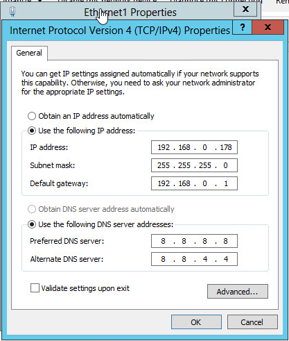 IPV4 Settings Enternet