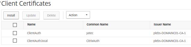 NetScaler Client Certificartes