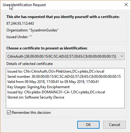 NetScaler certificate prompt