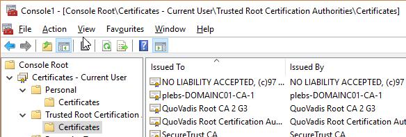 Certificates CA MMC